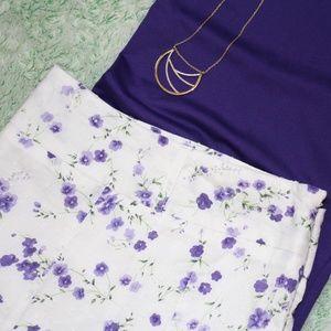Dress Barn White Flare Skirt w/ Purple Flowers